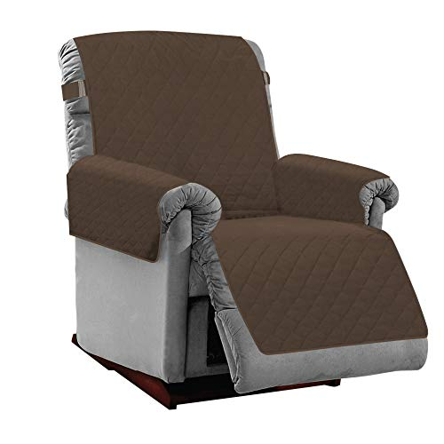 MIGHTY MONKEY Premium Reversible Recliner Protector, Seat Width to 28 Inch, Furniture Slipcover, 2 Inch Strap, Reclining Chair Slip Cover Throw for Pets, Dogs, Recliner, Chocolate Taupe