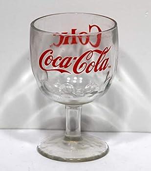 ENJOY COCA-COLA ENJOY COKE THUMBPRINT Gold GLASS GOBLET CHALICE STEMMED MUG