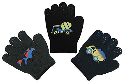 N'Ice Caps Boys Magic Stretch Gloves 3 Pair Pack Assortment (3-5 Years, Trucks - Navy/Charcoal/Black)