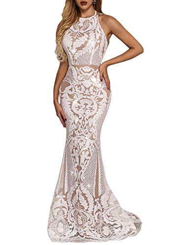 Yissang Women's Halter Floral Lace Sequined Wedding Evening Mermaid Dress Bridal Gowns White Large