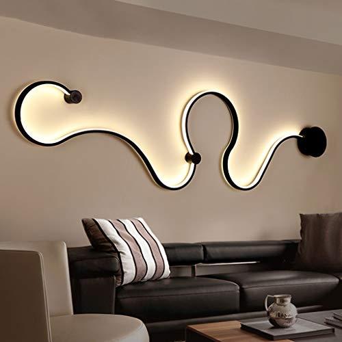 DGF Applique Serpentine Post-moderne Lumière Blanche Chaude Lumière LED Lampe de Chevet Salon Couloir Allée Décoratif Appliques Murales (Couleur : NOIR-D)
