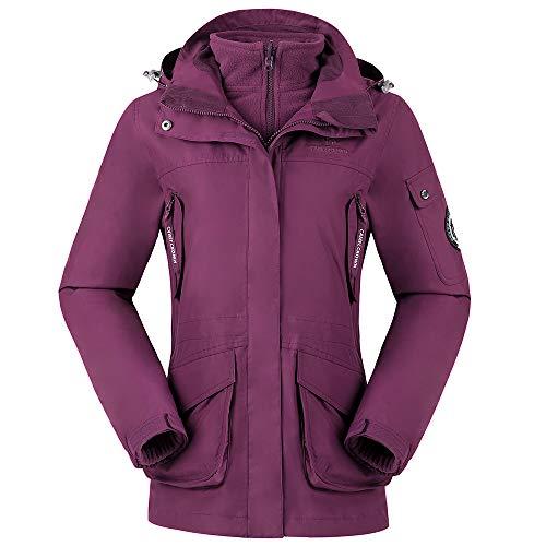 CAMEL CROWN Womens Waterproof Ski Jacket 3in1 Windbreaker Winter Coat Fleece Inner for Rain Snow Hiking Outdoor