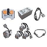 Bulokeliner 8 piezas de tecnología Power Functions Kit, aplicación con mando a distancia dual Servomotor con set de iluminación, mando a distancia compatible con Lego Technic