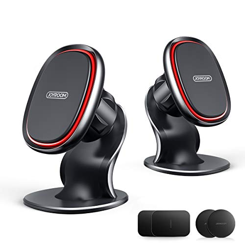 Magnetic Phone Car Mount, Joyroom Car Phone Holder Mount Magnetic [6 Super Strong Magnets] for Dashboard [2 Pack] iPhone Car Holder [360° Rotation] Fit for iPhone 11 Pro Max, XS, Samsung (Gray) (Red)