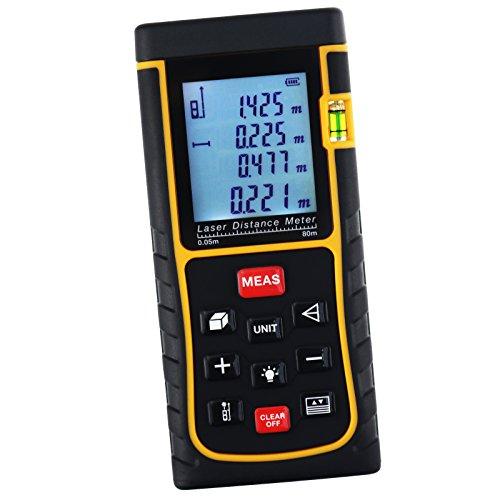 Digital 80M / 262ft Laser-Maßband Entfernungsmesser, Entfernungsmesser Gerät mit Hintergrundbeleuchtung und Wasserwaage, ± 2 mm Genauigkeit