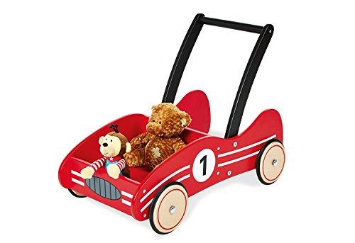 Pinolino Lauflernwagen Kimi, aus Holz, mit Bremssystem, Lauflernhilfe mit gummierten Holzrädern, für Kinder von 1 – 6 Jahren, rot
