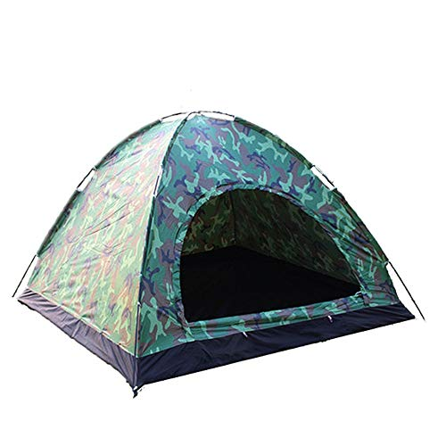 Travel Tent Camouflage Single-layer Travel Supplies Outdoor Camping Tent 3-4 Person for Camping (Color : Camouflage, Size : 3-4 persons)