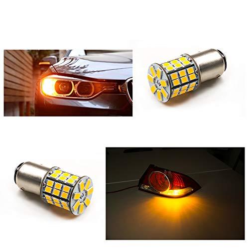 PA Lot de 2 ampoules LED haute puissance 49SMD 2835 + 5730 Puce LED Auto Light Signal de freinage (Bay15D broches décalées, jaune)