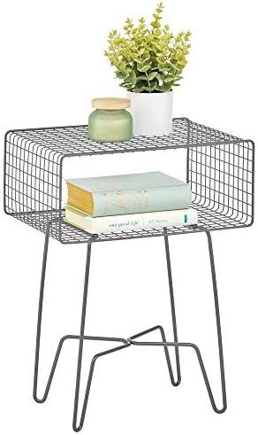 Best mDesign Modern Farmhouse Side/End Table - Metal Grid Design - Open Storage Shelf Basket, Hairpin Leg