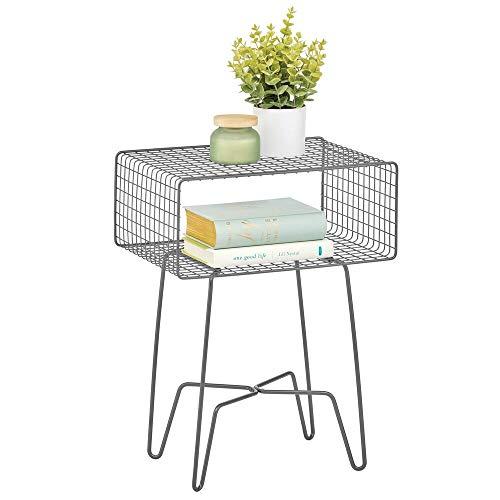 mDesign Mesita auxiliar de metal pequeña – Elegante mesa auxiliar vintage para el salón o el dormitorio – Mesa de centro con moderno diseño de horquilla – gris grafito