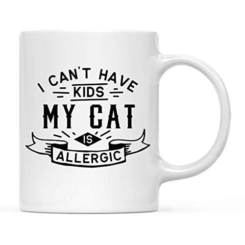 Regalo de taza de café para padres, perros, gatos, amantes de los animales, no puedo tener hijos, mi gato es alérgico, 1 paquete, ideas para regalos de cumpleaños y Navidad