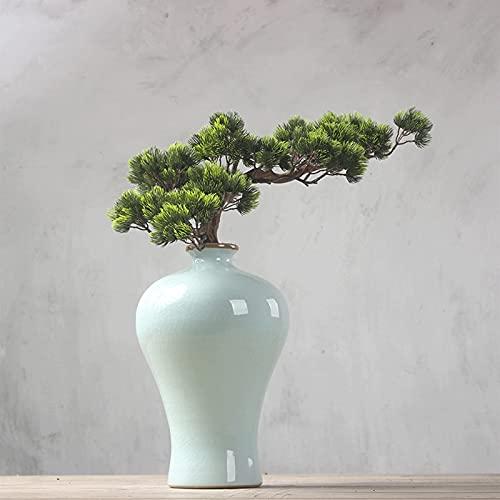 YUXINYAN Decorar 19 Pulgadas Faux Bonsai Pine Tree, Plantas Falsas Árbol en Maceta de cerámica, Cedar Artificial Bonsai Usado para Interiores/Exteriores Adornos
