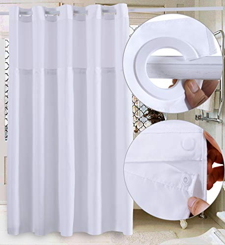Conbo Mio Hookless Shower Curtain with Snap in Liner for Bathroom Waterproof Rust Proof with Flex On Rings (White A,71'X74')