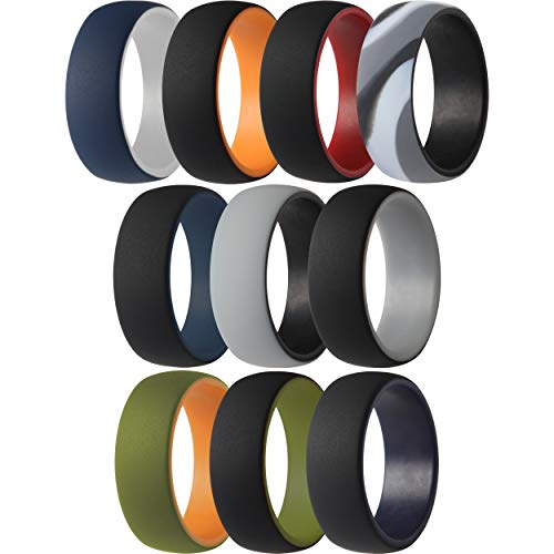 ThunderFit Silicone Wedding Ring/Engagement Band - for Men - 10 Pack 2 Layer Round Silicone Rings (11.5-12 (21.3mm))