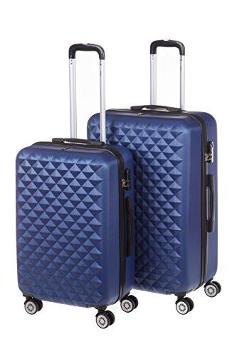 Harde kofferset MONACO 2-delig maat L + XL, 65 + 75 cm, 68 + 110 liter met 360 graden wieltjes en cijferslot, verschillende kleuren.