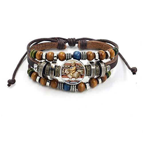 CLX Herren Armband, Weinlese-Islam Allah Perlen-Leder-Armband Glascabochon-Charm-Verschluss-Knopf-Armbänder für Männer Frauen Muslim Schmuck Accessoires,F