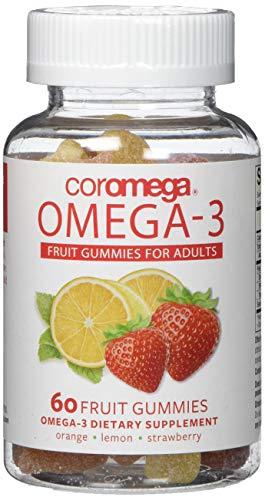 Coromega Adult Omega 3 Fish Oil Gummies, 50mg DHA and 10 mg EPA of Omega-3s Fatty Acids, Dietary Supplement, Orange, Lemon, and Strawberry Banana Flavors, One Bottle, 60 Gummies per Bottle