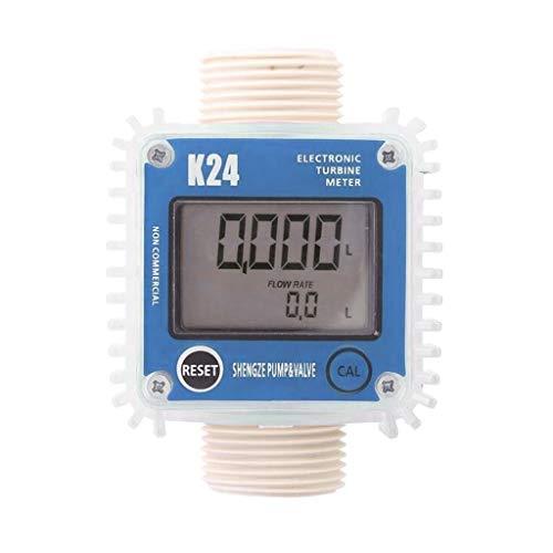 B Blesiya Digitaler Wasserzähler Kraftstoffzähler, Durchflussbereich 115-100L / MIN, Horizontal/Vertikal - D#Vertikal Blau