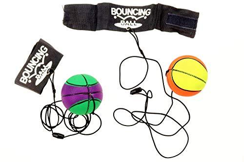 2er Set Springball/Returnball/Flummi Ø 6,3cm Armband & Schnur, Safety Clip, Fußball/Basketball/Tennisball/Baseball (2700031)
