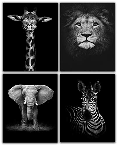 Modern Black and White Dcor Canvas Wall Art,Animals Picture Prints,Lion,Elephant,Zebra,Giraffe Painting Printed on Canvas,Wall