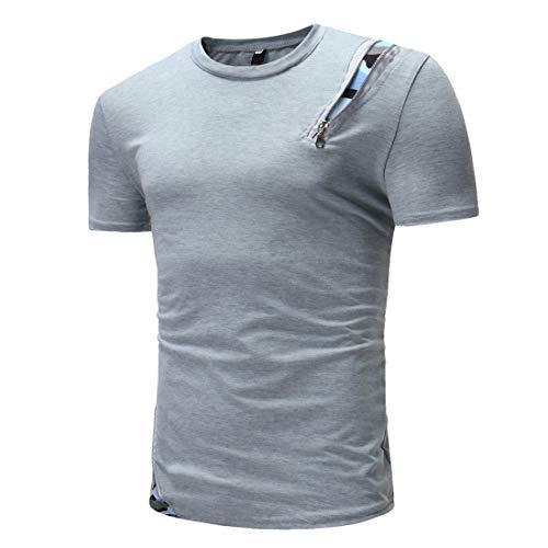 Camisa Hombre Verano Cuello Redondo Manga Corta Ajustado Hombre Casuales Camisa Cremallera Deportiva Camisa Moderna Cómodo Moda Hombre Camuflaje T-Shirt B-Gray L