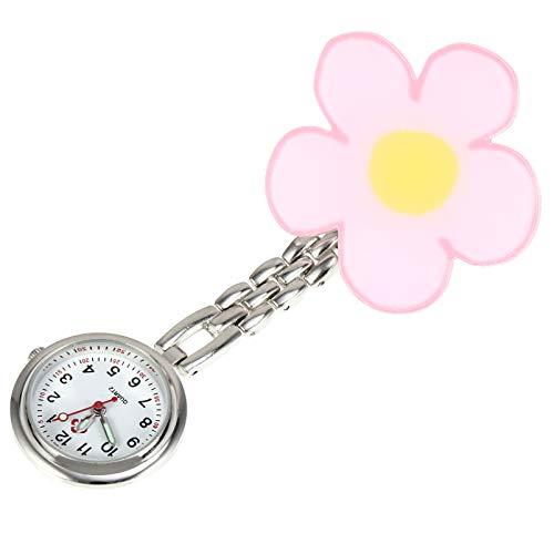 ibasenice Reloj de Enfermera Fob Reloj de Cuarzo con Flor de Aleación de Zinc Reloj Médico Reloj de Bolsillo Reloj Colgante para Hombres Y Mujeres Adultas