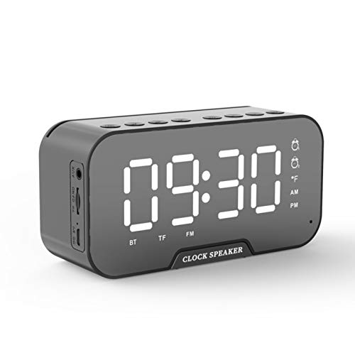 Bluetooth Speakers Portable Wireless with FM Radio,Small Loud Outdoor Bluetooth Speaker Set,Alarm Clock with USB for Bedroom,Alarm Clocks for Heavy Sleepers (Black)