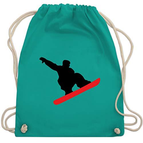 Wintersport - Snowboard Sprung Trick - Unisize - Türkis - snowboard bag - WM110 - Turnbeutel und Stoffbeutel aus Baumwolle