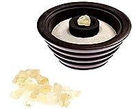 Alternative Imagination Premium Bundle of Ribbed Black Soapstone Bowl with White Sand and Resin