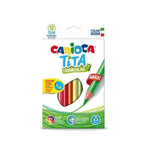 Carioca Maxi TITA |42791 - Matite Maxi in Resina Triangolari, Colori Assortiti, 12 Pezzi