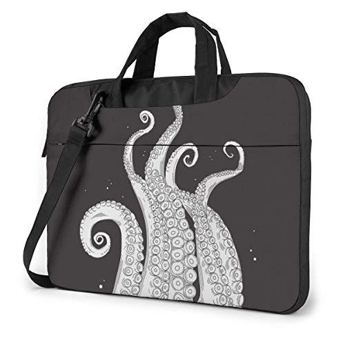 15.6 inch Laptop Tasche Schultertasche Bussiness Messenger Tablet Tasche Laptophülle Schwarzweiss-Ozean-Oktopus-Tentakel-Druck