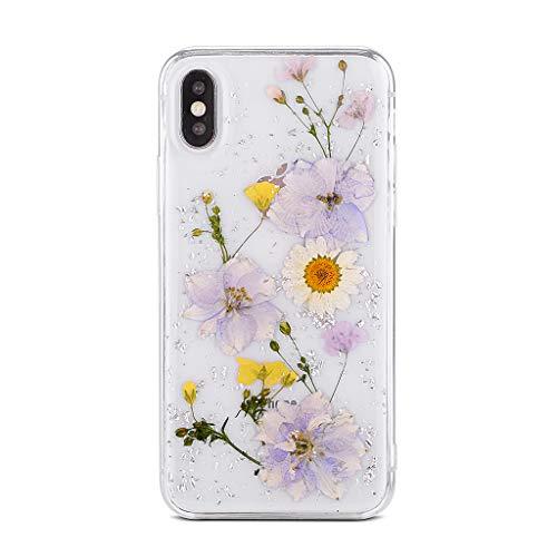 Bakicey iPhone 6s Plus Hülle, iPhone 6 Plus Handyhülle Getrocknete Blumen Kristall Gel Schutzhülle Handgefertigt Immerwährende Blume Bumper Hülle Cover Schale für iPhone 6 Plus/6s Plus Lila 04