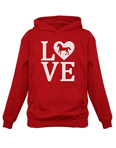 Green Turtle T-Shirts Love Chevaux Sweatshirt Capuche Enfant 11/12A Rouge