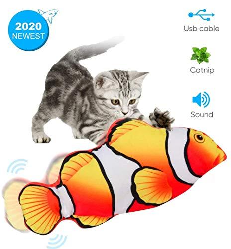 Qsnn Katzenspielzeug Fisch Elektrisch, Tanzender Fisch USB Katze Spielzeug mit Katzenminze für Kätzchen, Interaktives katzenspielzeug Zappelnder Fisch zu Spielen,Beißen,Kauen und Treten (Roter)