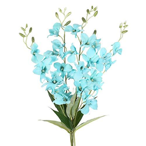 NAHUAA Kunstblumen Orchidee 4 Stücke Kunstpflanze Phalaenopsis Künstliche Blumen Schmetterling Orchidee 67cm Lang Seidenblume für Indoor Outdoor Hochzeit Haus Balkon Tischdeko Wohnzimmer Deko (Blau)