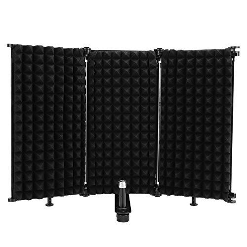 AMONIDA Escudo de Aislamiento de Micrófono, Panel de Aislamiento de Micrófono de Grabación Plegable de Estudio para Equipo de Grabación de Micrófono de Condensador