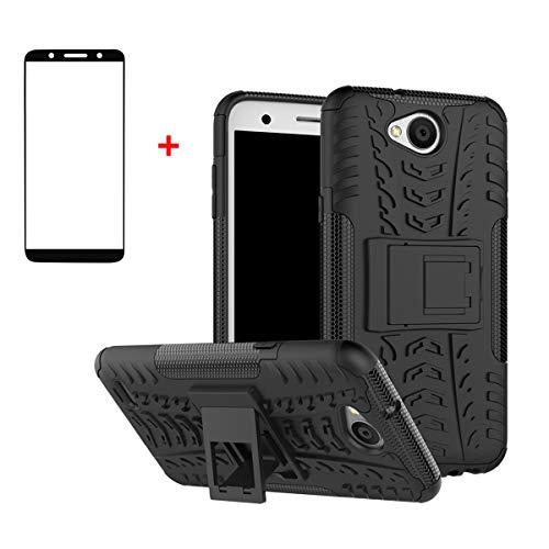 FullProtecter LG X Power2 Hülle,Bumper Cover Schutz Tasche Handyhülle Schutzhülle Silikon TPU+PC Hardcase für LG X Power2(Schwarz)+2 Stück Panzerglas Schutzfolie