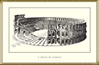 ポスター ヴェローナ larena di Verona 額装品 アルミ製ハイグレードフレーム(ゴールド)
