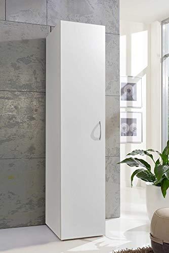 lifestyle4living Mehrzweckschrank in weiß mit viel Stauraum, Kleiderschrank mit 1 Tür und 6 Böden, Stauraumschrank B/H/T ca. 40/185/40 cm, Allzweckschrank