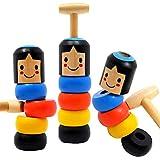 Evomax 2 PACK Unbreakable Wooden Magic Toy Stubborn Man Toy Wood Wooden Man Magic Toy Magic Puppet Toy Wooden Magic Toy Gift for Kids Magic Immortal Daruma Immortal Daruma Magic Tricks