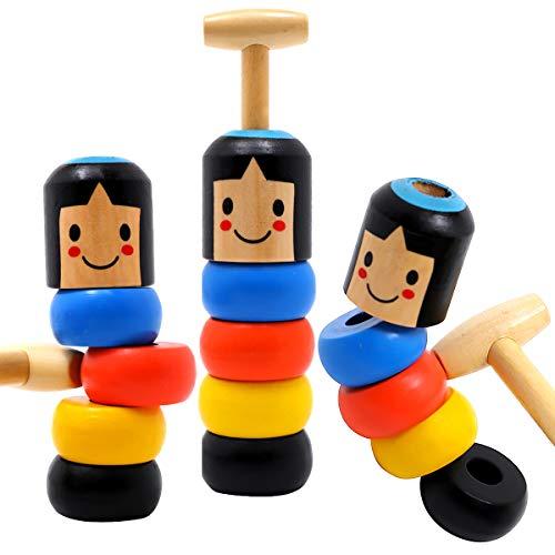 Vigeiya Magic Toys Mr Immortal Daruma Unbreakable Wooden Man Trick Props Gift for Kids Adults