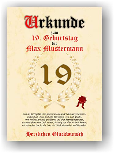 Urkunde zum 19. Geburtstag - Glückwunsch Geschenkurkunde personalisiertes Geschenk mit Name Gedicht und Spruch Karte Präsent Geschenkidee DIN A4