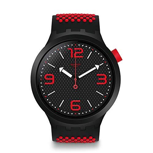 Swatch Herren Analog Quarz Uhr mit Silikon Armband SO27B102