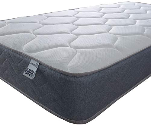 Starlight Beds – 4ft6 Double Mattress. 9 Inch Deep Sprung Double Memory Fibre Mattress with a Cool Touch Top Panel and Grey Border (4ft6 x 6ft3)