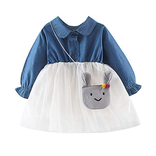 Baywell Children Spring Girls Cute Mesh Denim Stitching Print Princess Long-Sleeved Sweet Dress+Shoulder Bag