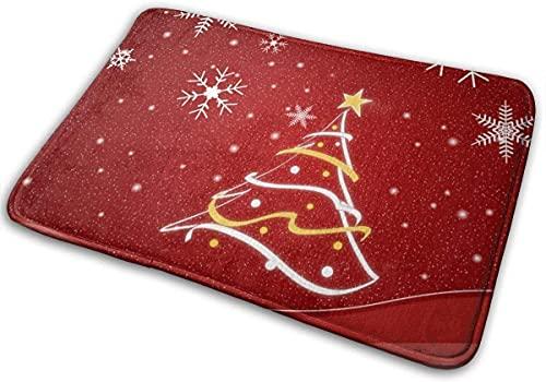 Bath Mat Christmas Tree & Snowflake Memory Foam Bath Mats Non Slip Soft Absorbent Bath Rugs Rubber Back Runner Mat for Kitchen Bathroom Floors White