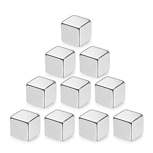 10 piezas Juego de imanes de cubo neodimio extrafuertes, pizarras magnéticas de vidrio pizarrón frigorífico notas blanco magnético,maestro escuela oficina con contenedor almacenamient XL (10x10x10mm)