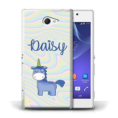 Personalizado Fantasía Unicornio Escritura Personalizar Funda para el Sony Xperia M2 / Dibujos Animados Líquido Arco Iris Diseño/Inicial/Nombre/Texto Carcasa/Estuche/Case