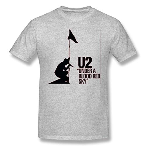 Sallyigueroa Men U2 Under A Blood Red Sky Fashion Gray T Shirt with Short Sleeve for Men