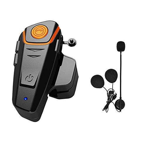 HuanGou Motorcycle Bluetooth Headset, BT-S2 Waterproof Motorbike Intercom up to 3 Riders 1000M Wireless Communication Interphone Systems Supports FM Radio GPS Music Hands-Free Walkie-Talkie(Single)